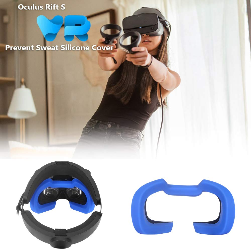 Eyglo Silicone VR Face Cover Mask for Oculus Rift S VR Headset Sweatproof Waterproof Replacement Face Pads Oculus Rift S Accessories Black