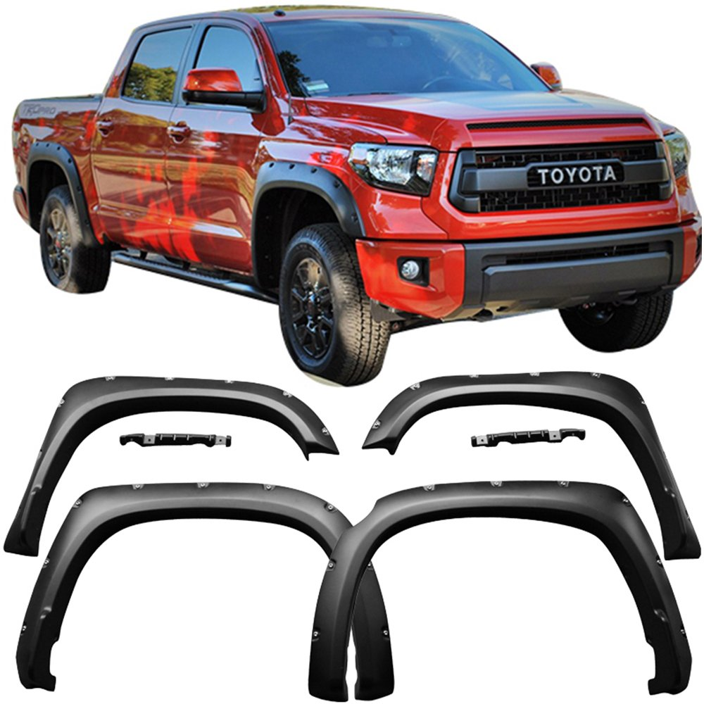 Fender Fits 2014-2018 Toyota Tundra | Pocket Rivet Style Fender Flares 4PC - PP by IKON MOTORSPORTS | 2015 2016