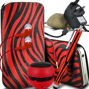 ONX3 Htc desire 500 protección Zebra PU Leather Slip Tire Cord En la bolsa del lanzamiento rápido con Mini capacitivo Stylus Pen, 3.5mm en auriculares del oído, mini altavoz recargable Cápsula, Micro USB CE aprobó 3 Pin Cargador (Rojo y Negro)