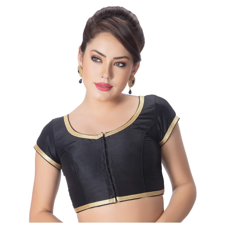 d6c89b790c70f rinkoo womens dupion silk designer princess cut padded short sleeves golden  lace border readymade saree blouse
