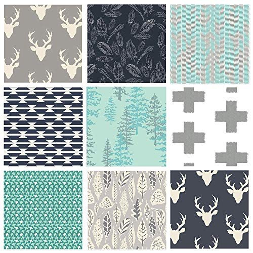 (Woodland Fabric Bundle | Hello Bear Deer Head Quilt Fabric | Bundle for Baby Boy | Trees Feathers Leaves | Forest Theme Fabrics | Navy Teal Gray | Nightfall Arizona | Art Gallery Fabric (Fat quarters) )