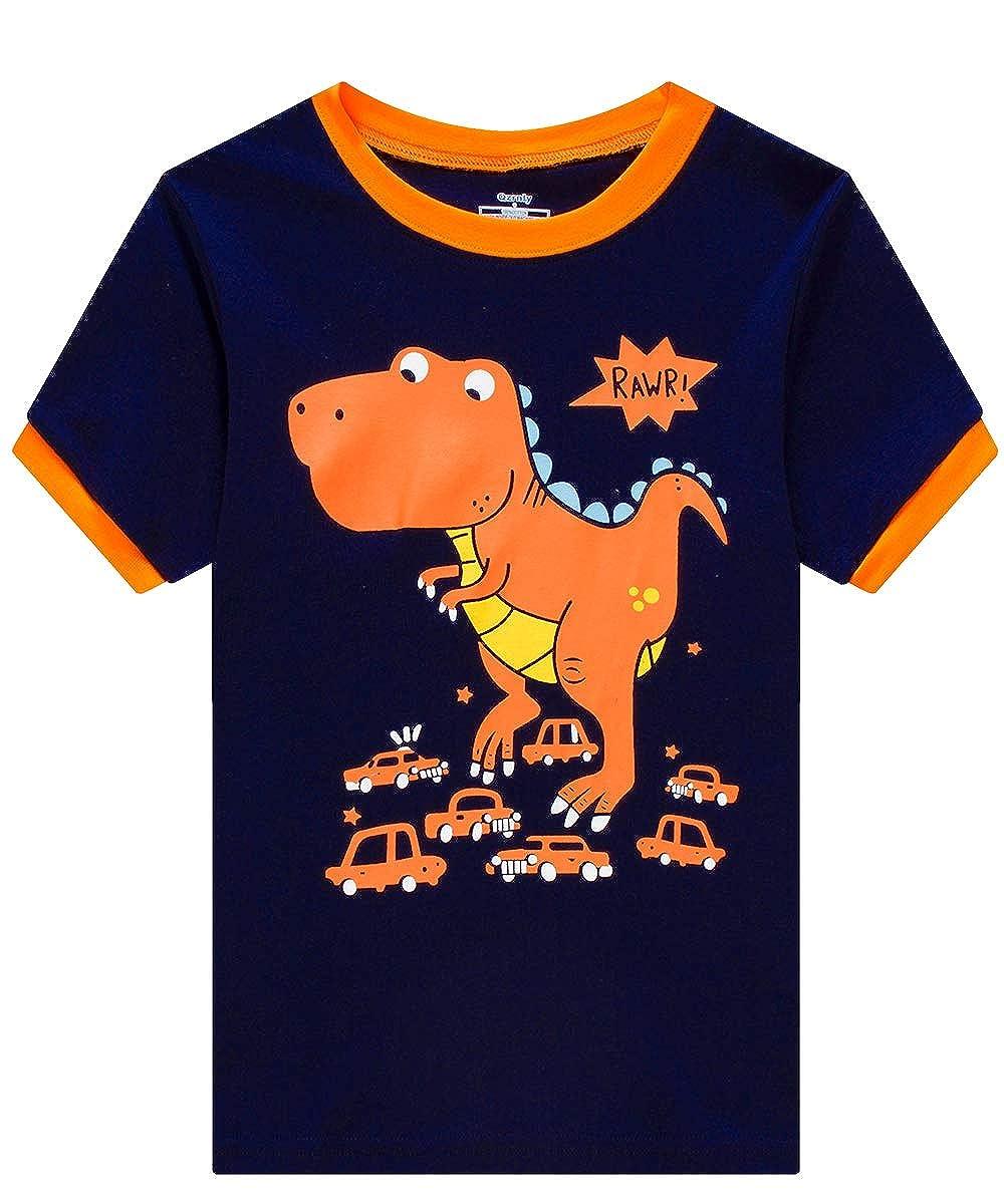 MIXIDON Jungen Schlafanzug Sommer Feuerwehrauto//Dinosaurier//Bagger Kurz Baumwolle Kinder Nachtw/äsche Baumwolle Kinder Kurzarm Pyjama 92 98 104 110 116 122