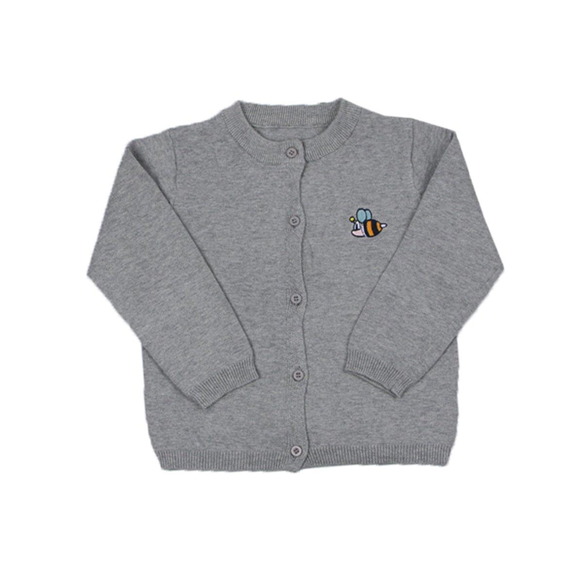 Lemonkid Trendy Unisex Kids Cotton Cardigan Bee Embroidery Knitwear Sweater 100cm/fit 2-3 T