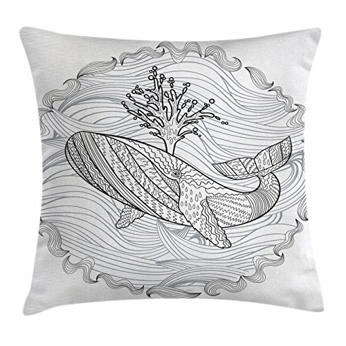 4b018bee98aca Ambesonne Modern Throw Pillow Cushion Cover, Razorback Whale Swimming in  Doodle Ocean Waves Sea Underwater Illustration, Decorative Square Accent ...