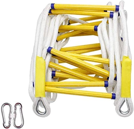 Miialz Salida de Incendios de Emergencia Escalera de Llama escaleras de Cuerda de Seguridad Resistentes con Ganchos - Rápido de implementar fácil de Usar - fácil de almacenar (Size : 25m): Amazon.es: Hogar