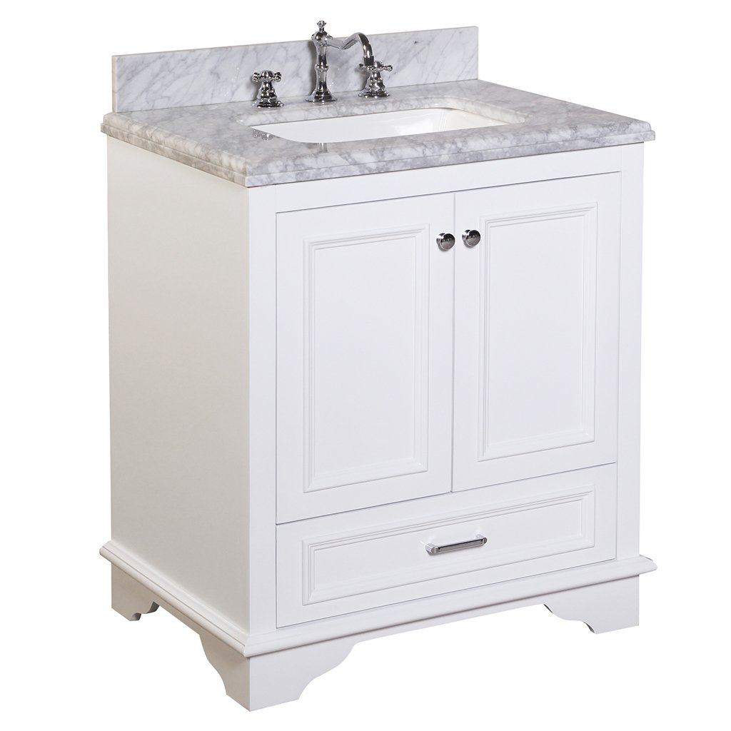 Kitchen Bath Collection KBC1230WTCARR Nantucket Bathroom Vanity With Marble  Countertop, Cabinet With Soft Close Function And Undermount Ceramic Sink,  ...