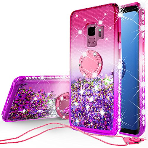 [GW USA] Cute Liquid Floating Quicksand Glitter Phone Case with Kickstand Compatible for Samsung Galaxy S9 Plus Case Bling Diamond Bumper Ring Stand Sparkly Clear Girls Women (Gradient Hot Pink)