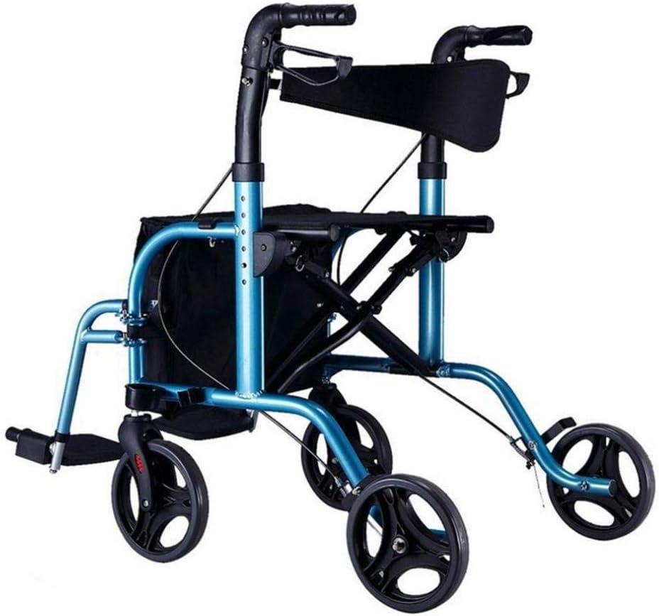 ZZX Andador con Asiento Ligero Plegable Andador De Cuatro Ruedas Cesta De La Compra Andador De Silla De Ruedas Y Silla De Transporte Carro Ajustable En Altura