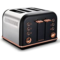 Morphy Richards 242107 Black Accents 4 Slice Toaster Rose Gold w/Removable Tray