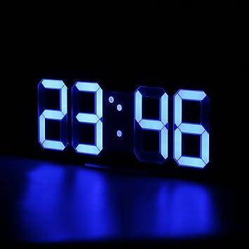 Reloj Despertador Digital LED WELQUIC con diseño de números Modernos para Pared, Escritorio, mesilla de Noche, con Pantalla 3D, Color Azul: Amazon.es: Hogar