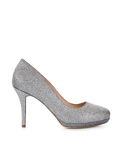 ShoeVita handgefertigte Damen Leder Pumps Glitter Silber