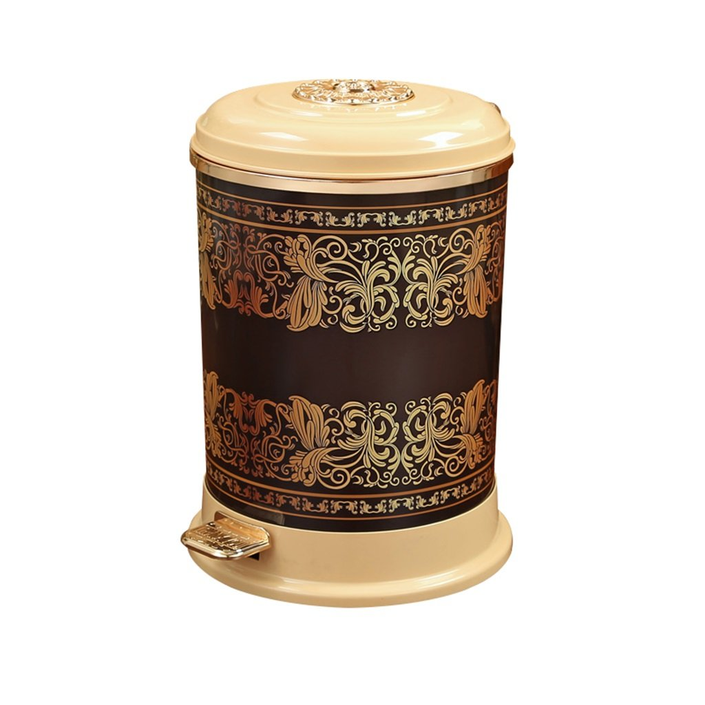 Wghfwx Pedal-type Trash Can Covered Chinese Household Waste Box High-grade Decorative Box (yellow) 9L