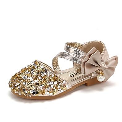 a3a9971de3a5a2 Kids Sandals Size Fashion Flat Crystal Beach Roman Girls Summer Shoes(Gold26 9  M