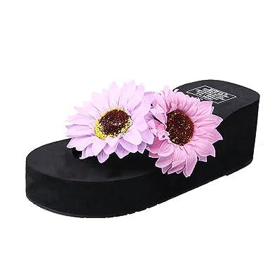a82f5dd3fbc8 Fresh Beach Shoes Flowers flip Flops Imitation Pearl Platform  Slippers(Black 35 4.5 B