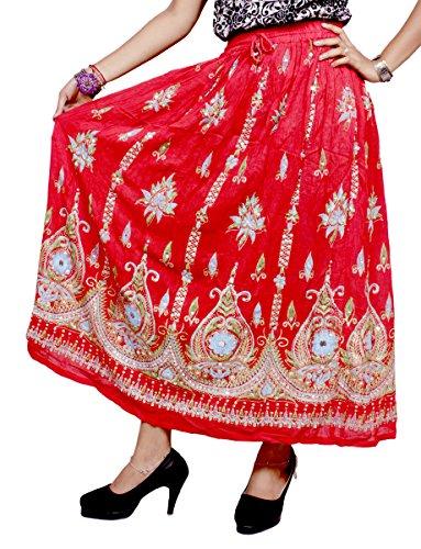 Amazingindiaonline - Falda - Manga Larga - para mujer rojo oscuro