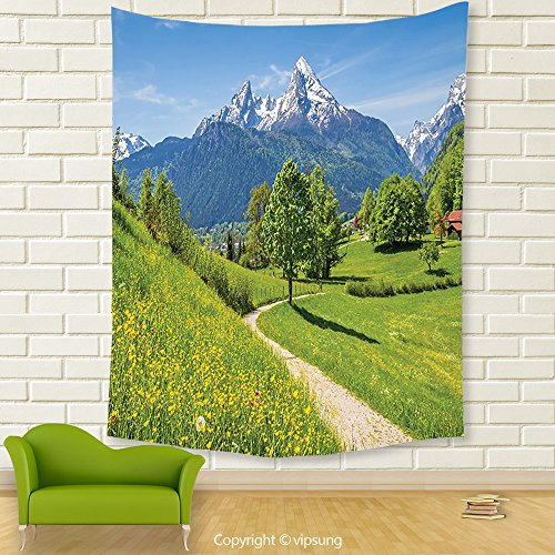 Vipsung House Decor Tapestry_Apartment Decor Wildflowers In The Alps And Snow Capped Mountains National Park Bavaria Germany Decores Yellow Green_Wall Hanging For Bedroom Living Room Dorm