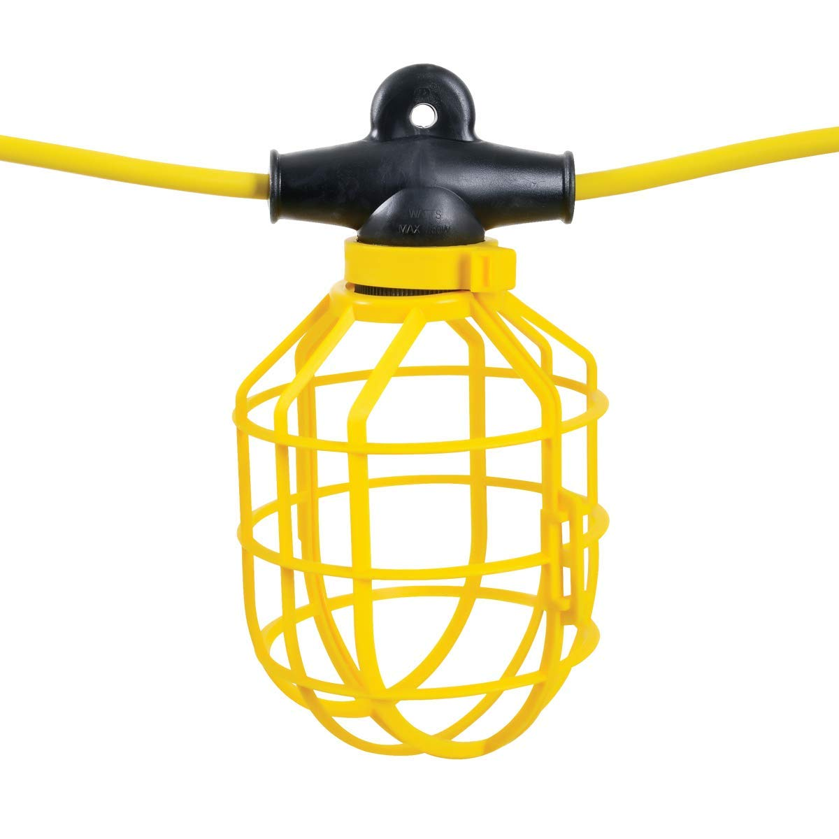 REELWORKS Extension Cord String Work Lights 14AWG x 100' Feet SJTW Cable 10 Light Sockets Heavy Duty 12A 125VAC 1500W Polypropylene Bulb Cage Guards Yellow Commercial Contractor For Indoor/Outdoor Use