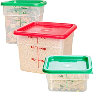Cambro Transculent Food Storage Containers Bundle - Cambro 6 qt With Lid - Cambro 4 qt With Lid - Cambro 2 qt With Lid - Complimentary CUSINIUM Coasters, Ebook