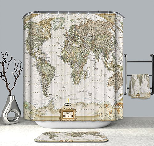 "Cedmon Antique Decor Map of the World Shower Curtain with Detailed Major Cities 72""×72"" (180cm×180cm)"