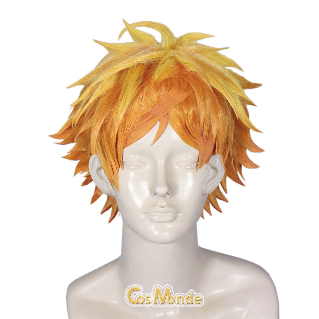 A3 Summer Troupe Tenma Sumeragi Short Orange Cosplay Wig Unisex + Gift (Coif)