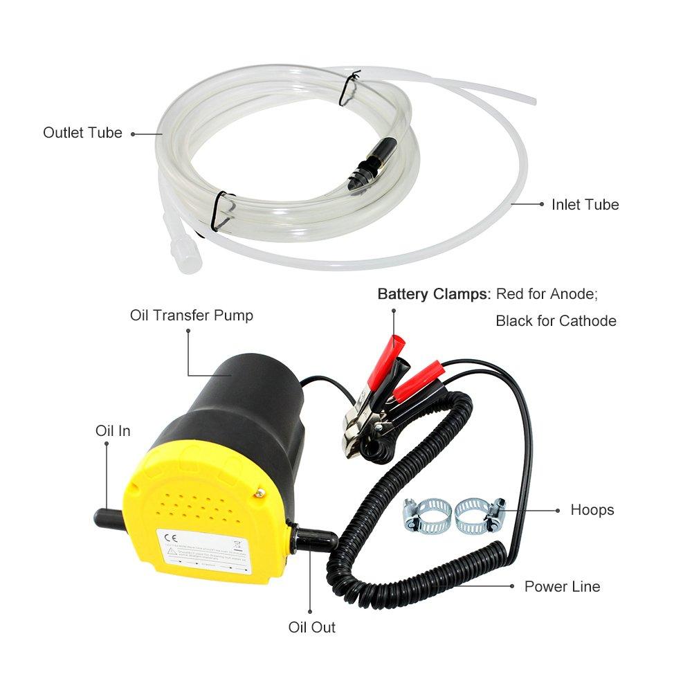 Ensemble de Pompe /à Amor/çage Automatique /électrique Extracteurs de Fluide Avec 2 Tubes Pour Changer Lessence Pompe /à Huile de Moteur de Voiture 12v