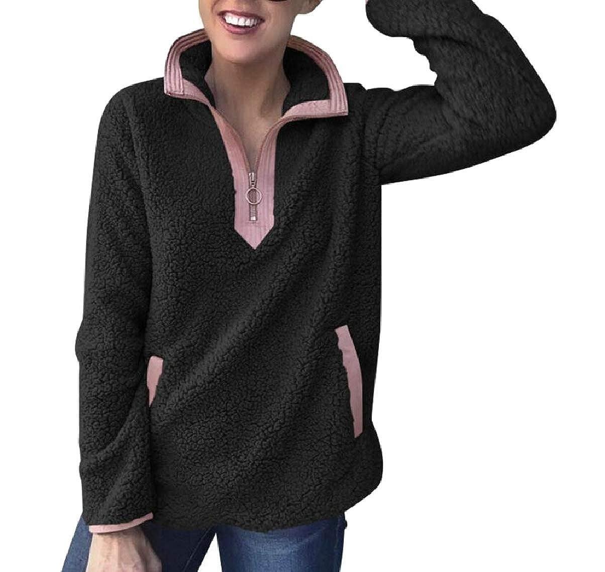 ZXFHZS Womens Fashion Long Sleeve Zipper Fleece Pullover Sweatshirt with Pockets