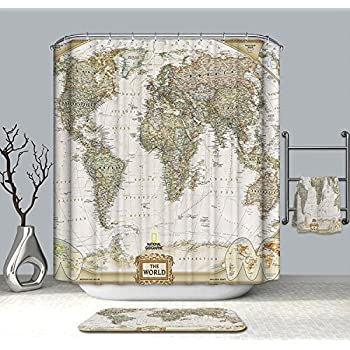 Cedmon Antique Decor Map Of The World Shower Curtain With Detailed Major Cities 72x