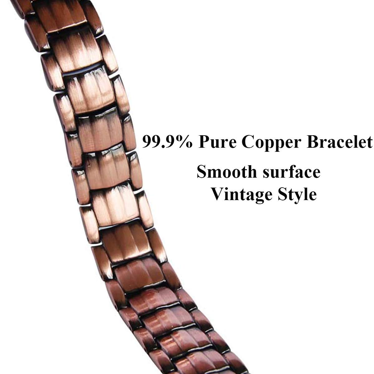 Vinca Mascot Copper Magnetic Bracelet Double Strong Magnets Wristband Therapy for Arthritis Pain Relief, Rose Gold