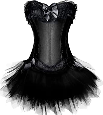 e6a973ccb8 JL Womens Swan Moulin Rouge Burlesque Corset + Tutu Petticoat Skirt (UK(6-