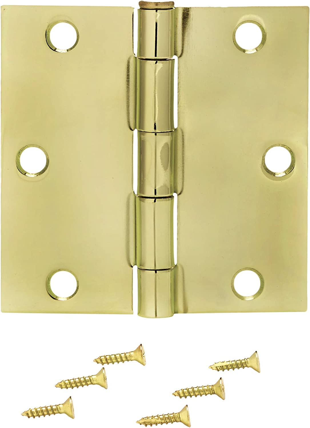 3.5 x 3.5 Door Hinges with 5//8 Radius Corners Polished Brass Pack of 12
