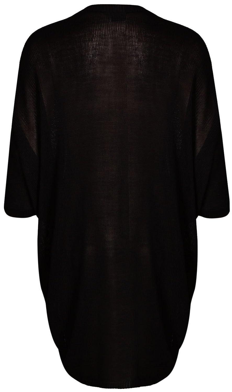 New Womens Plus Size Kimono Batwing Sleeve Long Waterfall Cardigan Top Black, 1X