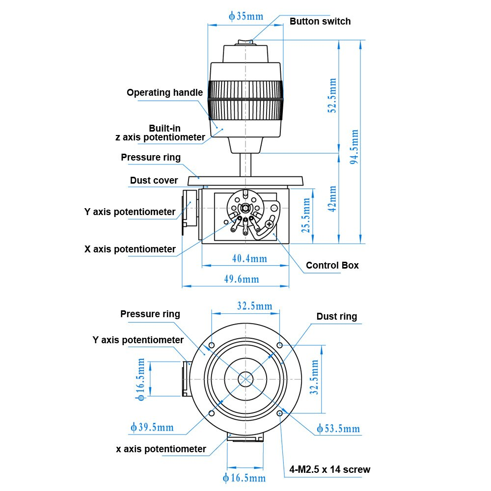 4 Axis Joystick Potentiometer Jh D400x R2 5k 4d With 2 Wiring Diagrams Button Computers Accessories