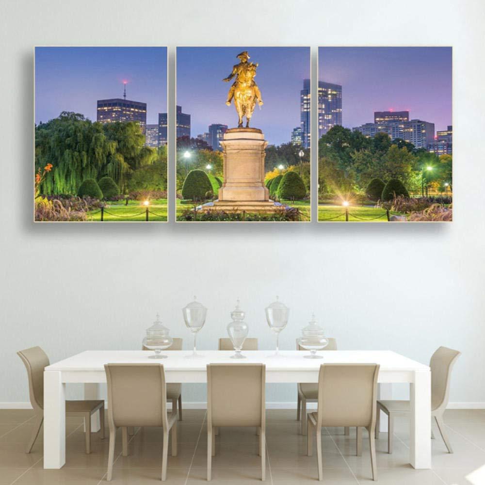 cuadros de pared Decoraci/ón de sala de estar 60x75cmx3 sin marco Pintura de lienzo Caligraf/ía Boston Massachusetts Public Garden Carteles e impresiones