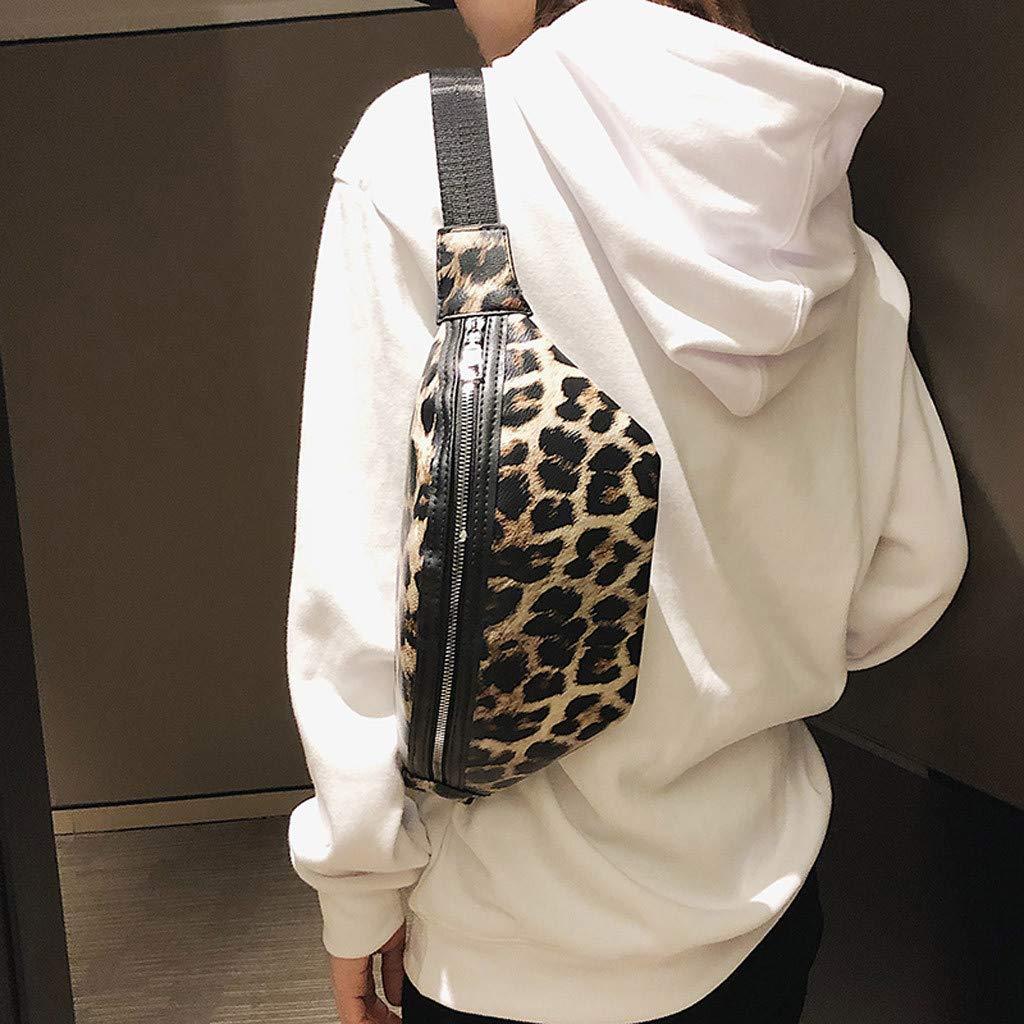 Adagod Neutral Outdoor Zipper Leopard Print Messenger Bag Sport Chest Bag Waist Bag