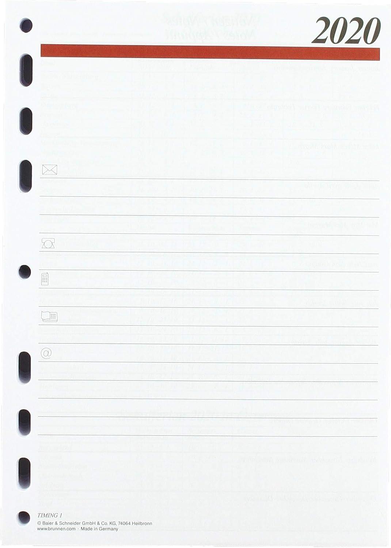 rido//id/é 706590020 Blattgr/ö/ße 14 1 Seite = 1 Tag A5 2020 Tageskalendarium//Zeitplansysteme 1 Seite Wochenplanung Vor Jeder Woche 8 cm 8 x 20