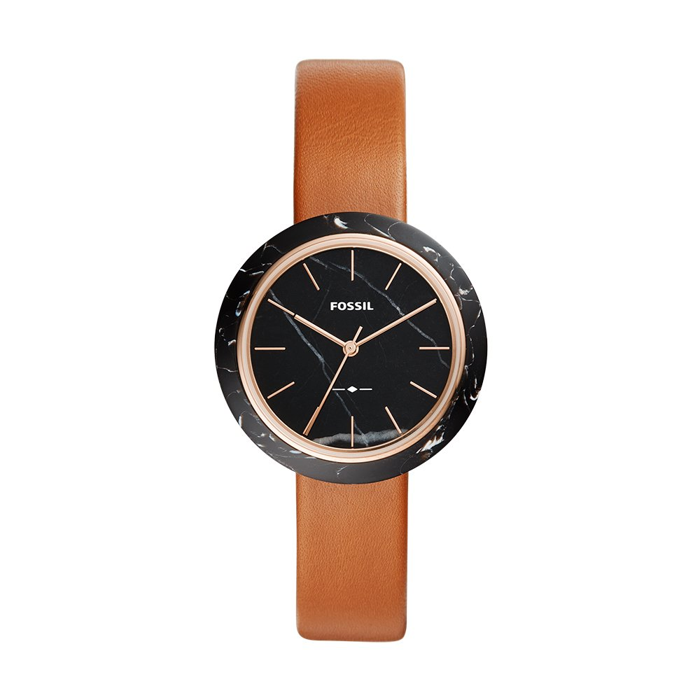 Fossil Women's 'Camille' Quartz Stainless Steel and Leather Casual Watch, Color:Brown (Model: ES4382)