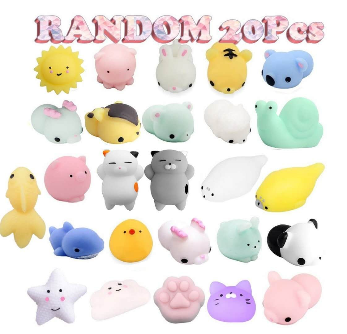 Birthday Party Favors Pack for Kids - 20 Pcs Mochi Squishies Bulk Toy Assortment for Goodie Bags Fillers Pinata Prizes Classroom Rewards Carnival Stuffers Easter Egg