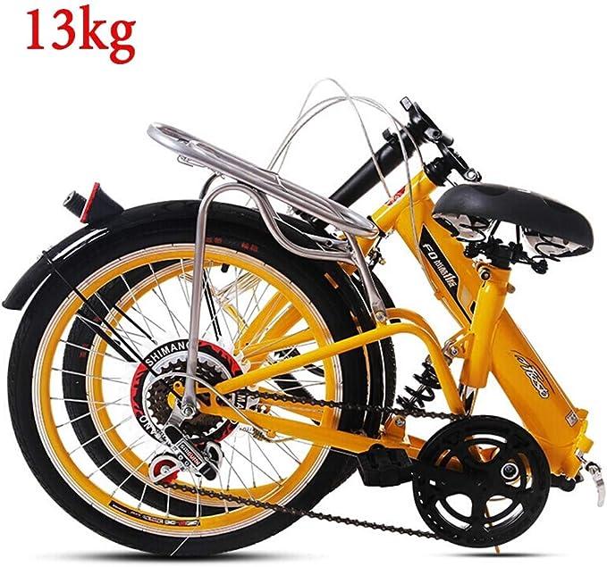 "Grimk Folding Bike Unisex Alloy City Bicycle 20"" With Adjustable Handlebar & Seat 6 speed,comfort Saddle Lightweight For Adults Men Women Teens Ladies Shopper"