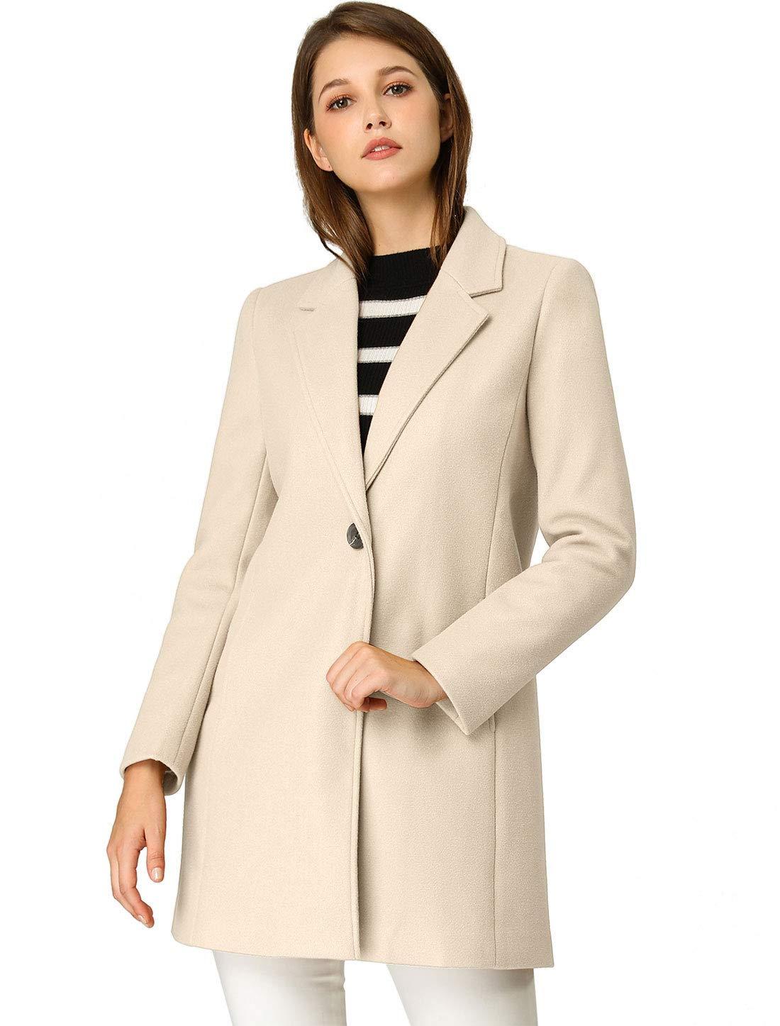 Allegra K Women's Classic Notched Lapel Long Sleeve Buttoned Long Coat