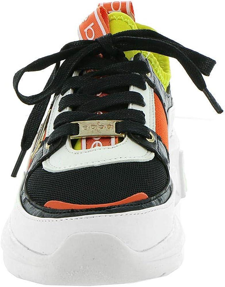 bebe Women's Lealea Sneaker White/Lemon/Orange