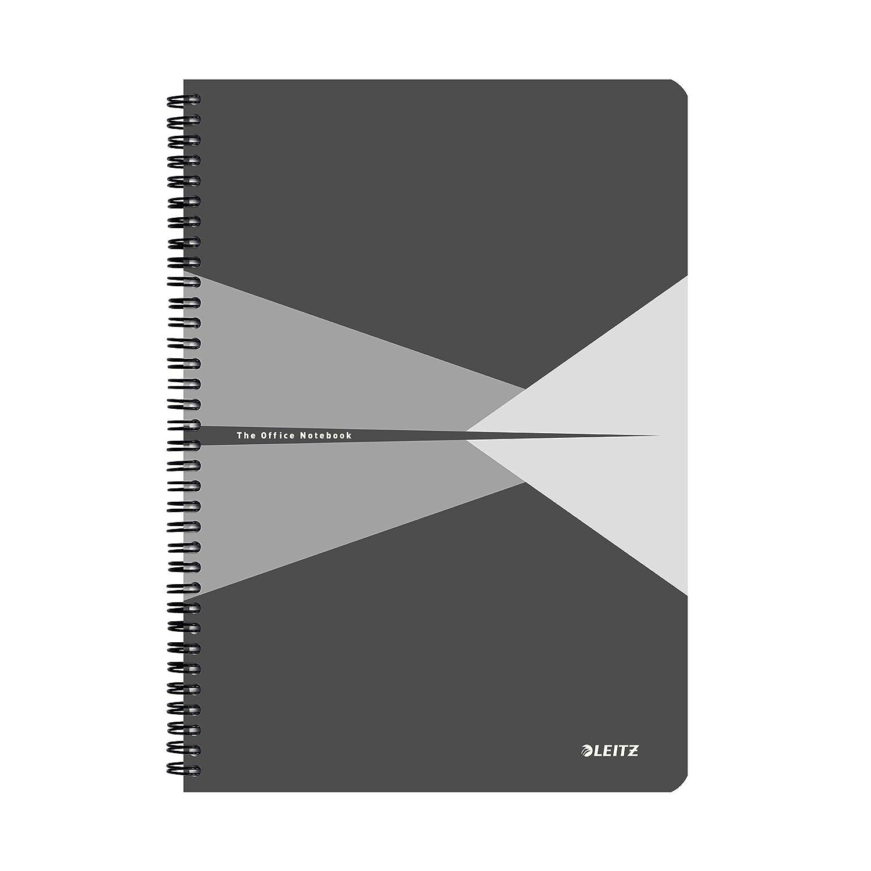 Leitz Blocco per appunti A4 con copertina in PP A quadretti Rilegatura a spirale 44950025 Carta 90 gr//mq Rosso 90 fogli Office