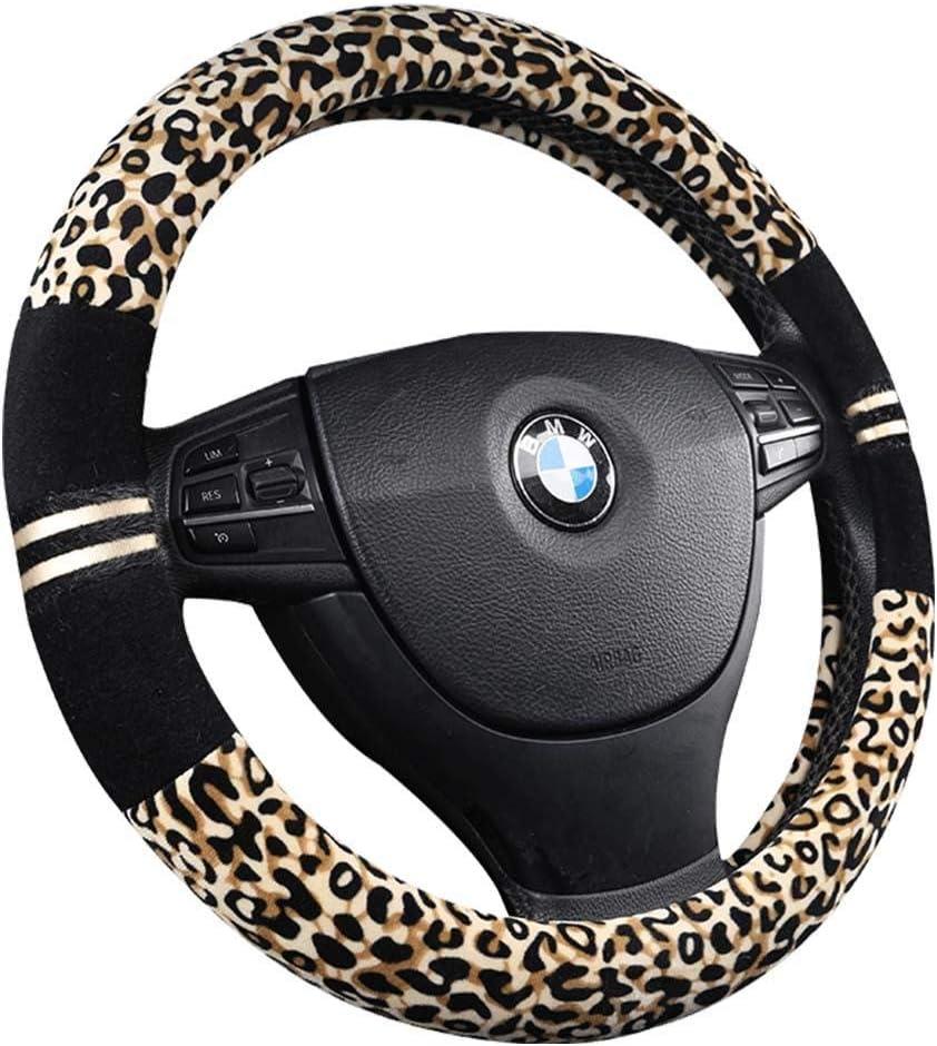 Car Steering Wheel Cover Winter Plush Leopard-print Warm Winter Plush Car Steering Wheel Cover Set with Handbrake Cover Gear Shift Cover Non-slip Auto Automobile Wheel Protector