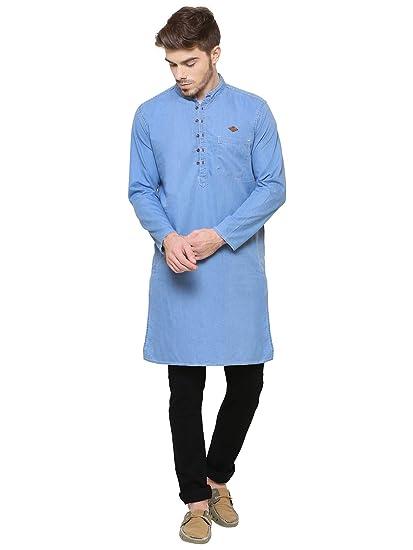 9f07a6e52e0 Kuons Avenue Light Blue Men s Denim Cotton Long Kurta (Light Blue  Medium)