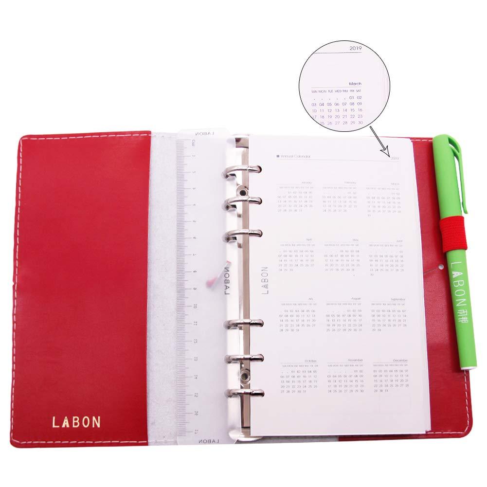 Labons 6 Anillos Filofax Carpeta Recambios Planificador Mensual Semanal Diario Horario/ 2019 2020 Calendario/Telefonos & direcciones/Nota personal ...
