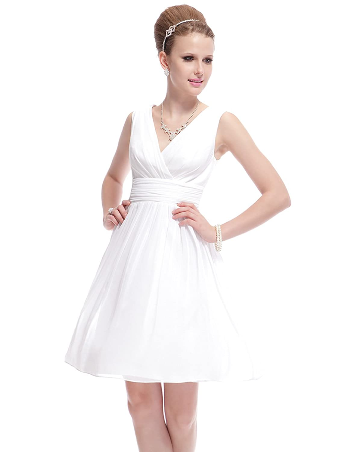 Ever Pretty Double V-Neck Ruched Waist Short Cocktail Party Dress 03989