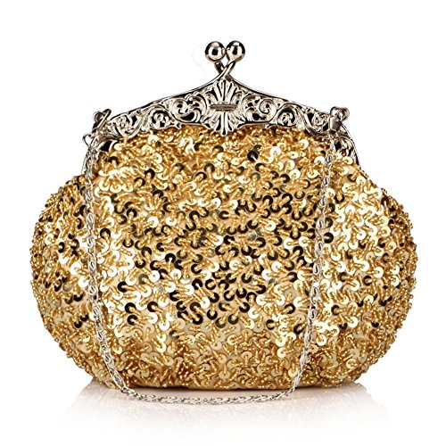 Chicastic Full Sequin Mesh Beaded Antique Style Wedding Evening Formal Cocktail Clutch Purse - (Antique Evening Bags)