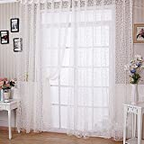 Flocking Floral Printed Sheer Wall Room Divider Curtain Sheer Panels Drape Scarf Valances Blinds Window Hangings Decor (100 x 200cm, White)