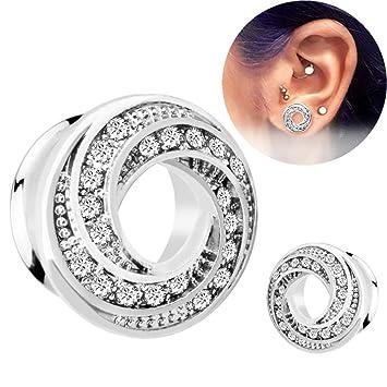 Kit de dilatadores para orejas Un par de aretes de moda hipoalergénico con incrustaciones de acero inoxidable exquisita joyería colgante oreja polea ...