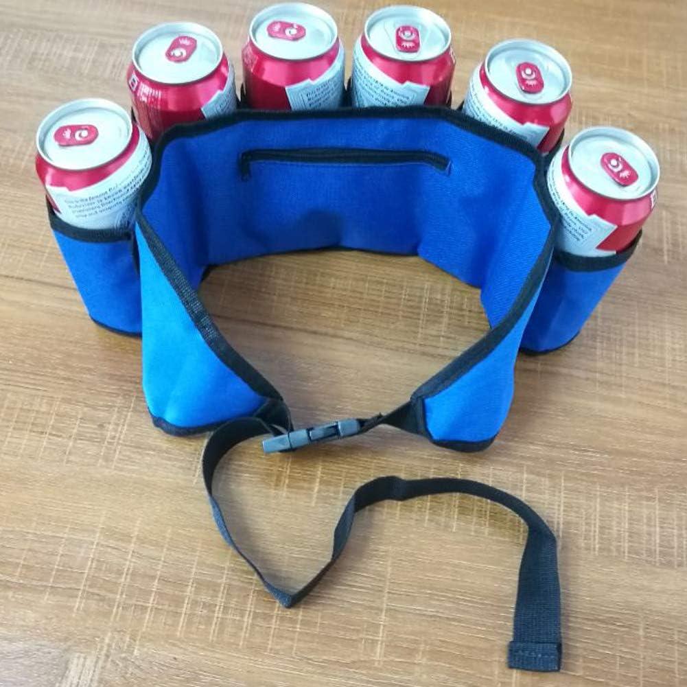 Bello Luna Cintur/ón de cerveza ajustable Cintur/ón de bebida de tela Oxford para barbacoa y trabajo al aire libre Azul