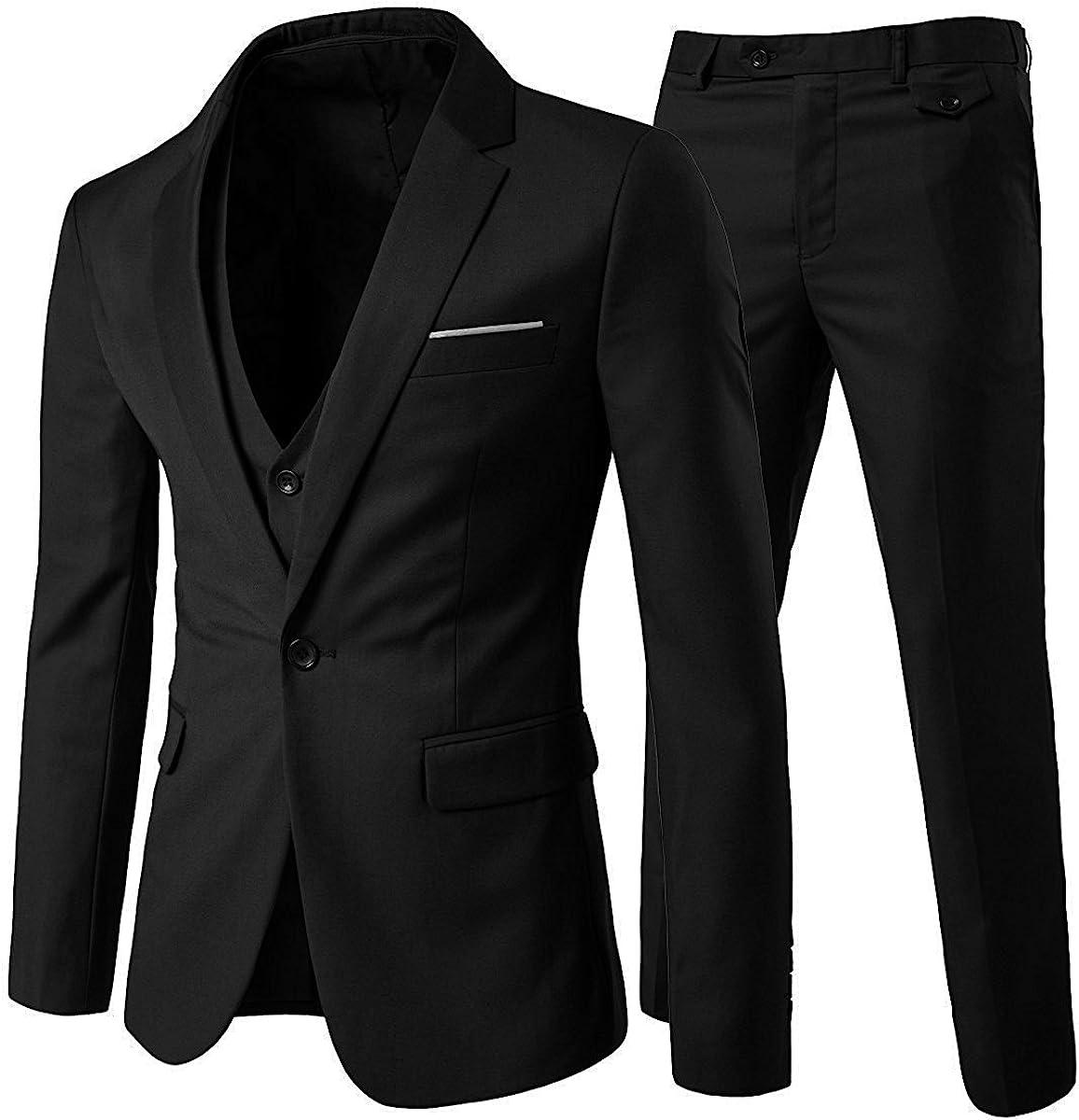 Traje de 3 Piezas de Hombre Slim Fit Trajes de Boda de Negocios para Hombres Blazer Chalecos y Pantalones